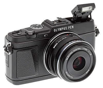 Olympus E-P5 Review - Front quarter view