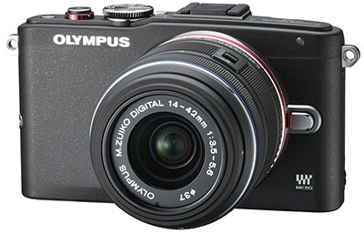Olympus E-PL6 Review -- Front right three-quarter view