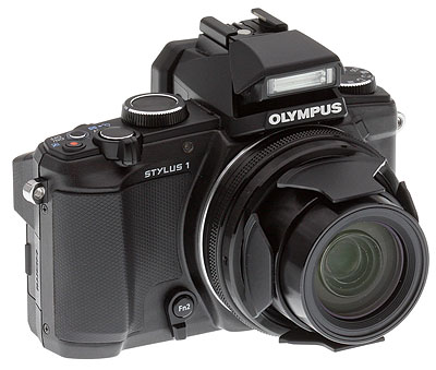 Olympus Stylus 1 Review -- right 3/4 shot with flash deployed