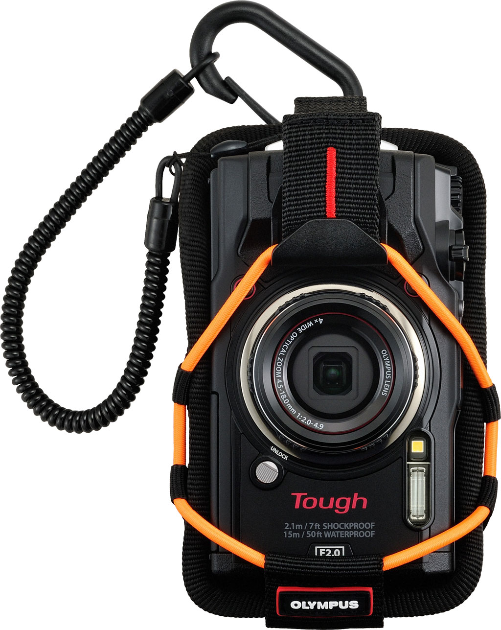 Olympus Digital Camera 5 Olympus TG-5 shown with optional orange CSCH-121 Sport Holder. Also comes  in light blue.