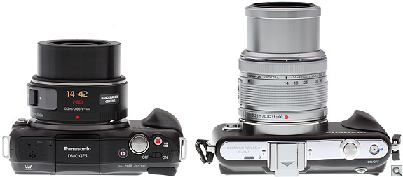 Panasonic GF5 vs EPM1 Top Extended