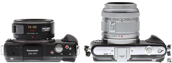 Panasonic GF5 vs EPM1 Top Retracted