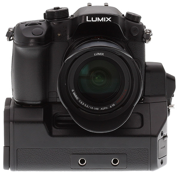 Panasonic GH4 Review -- Front view (prototype) with DMW-YAGH Interface Unit