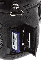 Panasonic GH4 Review -- Memory card slot crop