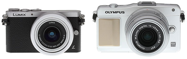 Panasonic GM1 Review -- GM1 vs Olympus E-PM2 front view