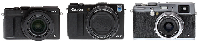 Panasonic LX100 review -- Front view compared to Canon  G1X II and Fuji X100S