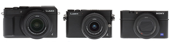 Panasonic LX100 review -- Front view compared to Panasonic GM5 and Sony RX100III