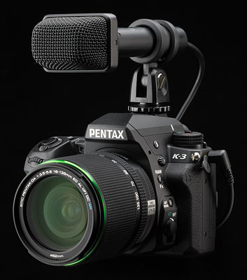 Pentax K-3 Review -- Pentax K-3 with optional external microphone