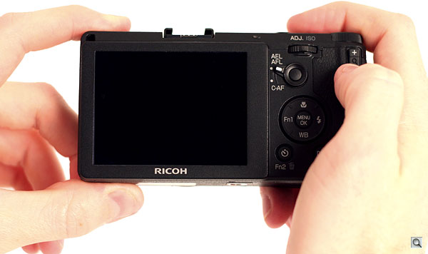 Ricoh GR review -- Rear view in-hand
