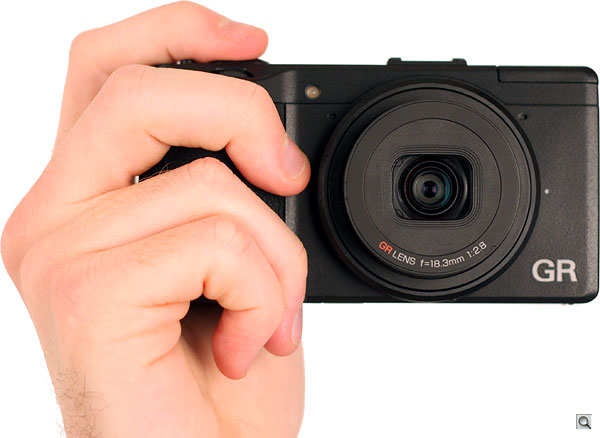 Ricoh GR review -- Front view in-hand