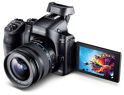 Samsung NX30 review -- three quarter left view with LCD