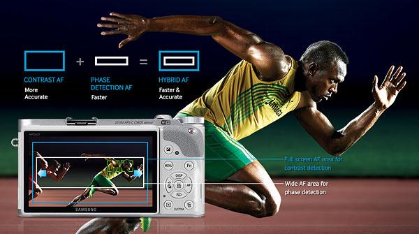 Samsung NX300 review -- Hybrid autofocus system coverage