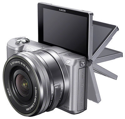 Sony A5000 review -- three-quarter view, LCD swing
