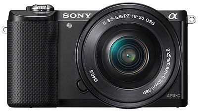 Sony A5000 review -- front view, black
