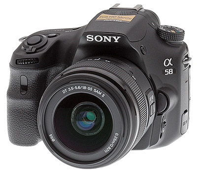 Sony A58 review -- Front quarter view