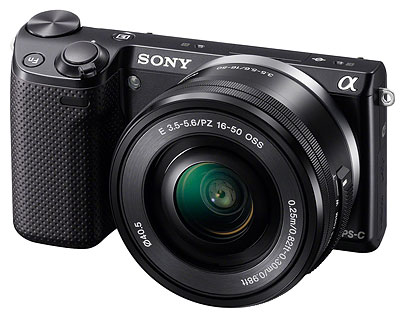 Sony NEX-5T Review -- 3/4 front view