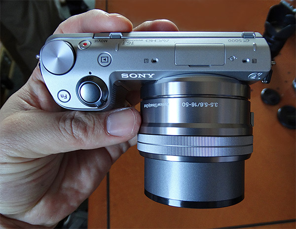 Sony NEX-5T Review -- In hand top view