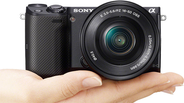 Sony NEX-5T Review -- Front view in-hand