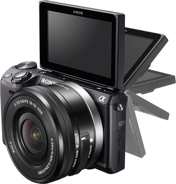Sony NEX-5T Review -- Left view showing LCD articulation