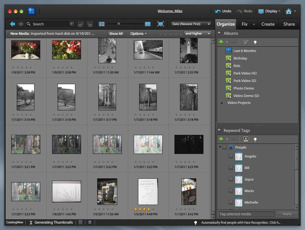 Organizer . Ships with both Photoshop Elements and Premiere Elements.