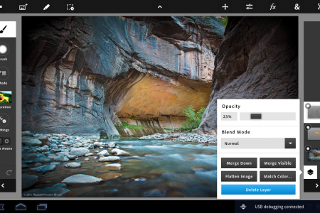 Working with layers in Photoshop Touch. Screenshot provided by Adobe Systems Inc.