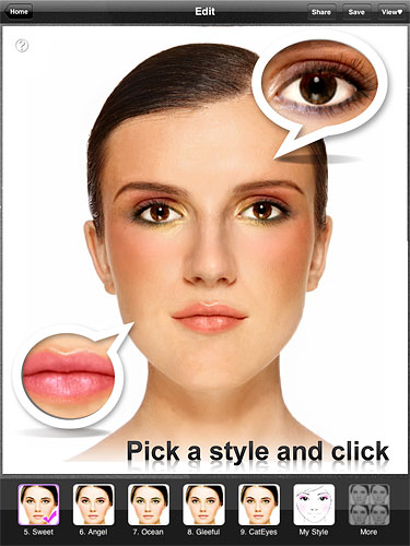 Perfect365 includes the ability to apply virtual 'makeup'. (iPad version shown.) Image provided by ArcSoft Inc. Click for a bigger picture!