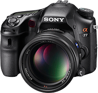Sony's Alpha SLT-A77 Translucent Mirror interchangeable-lens digital camera. Photo provided by Sony Corp.