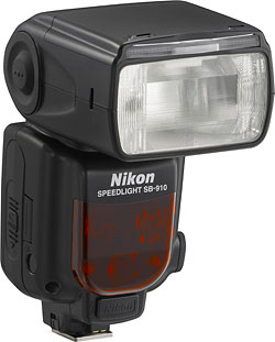 Nikon's SB-910 Speedlight, front quarter view. Photo provided by Nikon Inc. Click for a bigger picture!