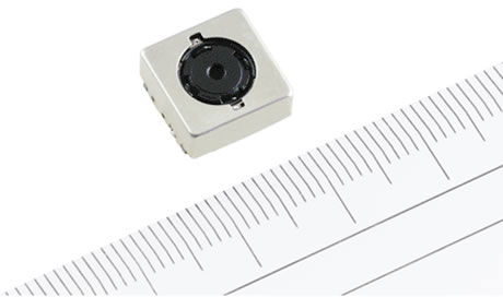 RJ63YC100 12.1-megapixel, 1/3.2-inch CMOS camera module with optical image stabilization. Photo and caption provided by Sharp Corp.