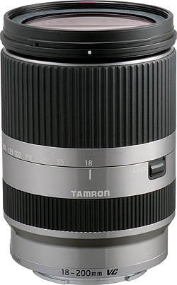 Tamron's 18-200mm Di III VC lens for Sony E-mount is available in both black and silver versions. Image provided by Tamron Co. Ltd. Click for a bigger picture!