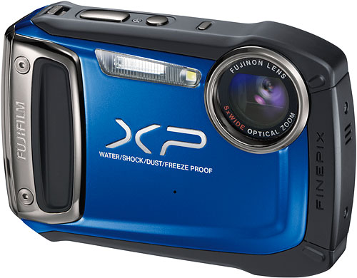 The Fuji XP100 is waterproof to 33 feet, and shockproof to 6.5 feet, and has a longer-lasting lithium-ion battery pack. Image provided by Fujifilm North America Corp. Click for a bigger picture!