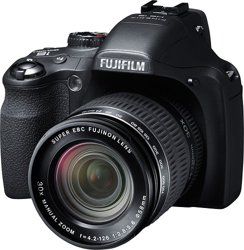 Like its sibling, the Fuji HS25EXR has a 30x optical zoom lens. Image provided by Fujifilm North America Corp. Click for a bigger picture!