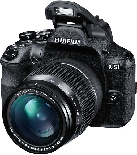The Fujifilm X-S1 ultrazoom digital camera has a 24-624mm-equivalent lens. Image provided by Fujifilm North America Corp. Click for a bigger picture!