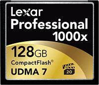 Lexar 128GB PRO CompactFlash 1000x card. Image courtesy of Lexar.