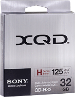 Sony's XQD memory card product packaging. Photo provided by Sony Corp.