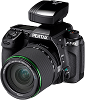 Pentax's K-5 digital SLR with O-GPS1 GPS accessory. J.D. Power ranked Pentax as the best manufacturer for online purchases.