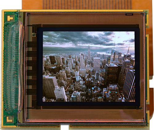 MicroOLED's new microdisplay has a resolution of around 1.3 megapixels in color, or five megapixels in black and white. Photo provided by MicroOLED SAS. Click for a bigger picture!