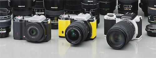 Pentax's K-01 compact system camera is available in a selection of three body colors. Photo provided by Pentax Ricoh Imaging Co. Ltd. Click for a bigger picture!