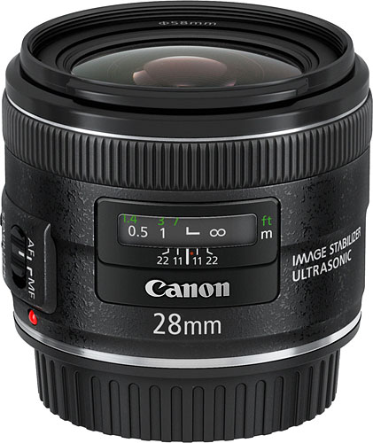 Canon's EF 28mm f/2.8 IS USM lens. Photo provided by Canon USA Inc. Click for a bigger picture!