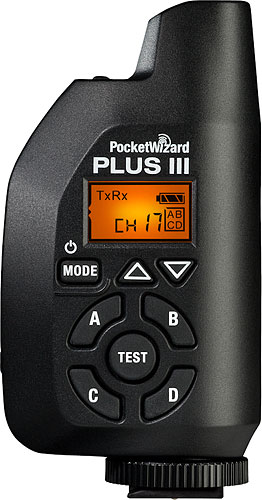 The PocketWizard Plus III transceiver. Photo provided by LPA Design Inc. Click for a bigger picture!