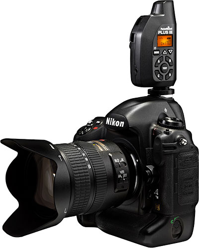 The PocketWizard Plus III transceiver mounted on a Nikon DSLR. Photo provided by LPA Design Inc. Click for a bigger picture!