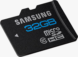 Samsung's High Speed Series MicroSD card, in its highest-available capacity. Photo provided by Samsung Electronics America, Inc. Click for a bigger picture!