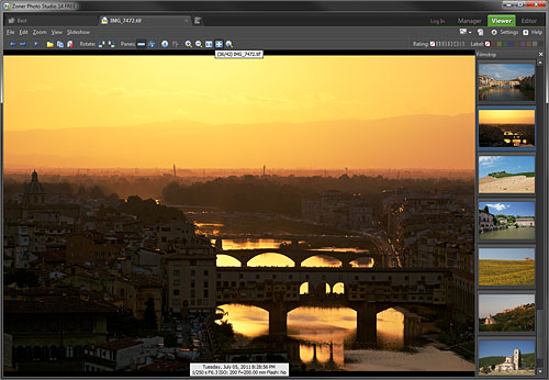 Zoner Photo Studio 14 Free's interface. Screenshot provided by Zoner Software a.s. Click for a bigger picture!