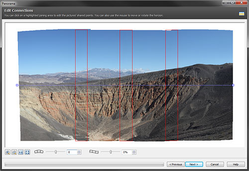 Stitching a panorama in Zoner Photo Studio 14 Free. Screenshot provided by Zoner Software a.s. Click for a bigger picture!