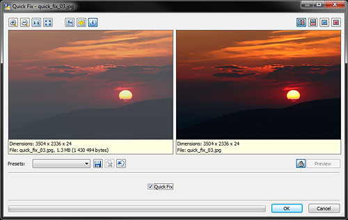 Auto-correcting an image with Zoner Photo Studio 14 Free's Quick Fix tool. Screenshot provided by Zoner Software a.s. Click for a bigger picture!