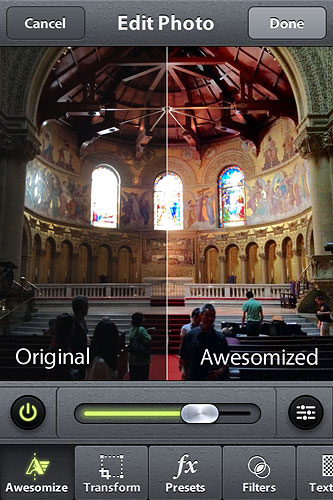 Capturing a photo with Camera Awesome. Screenshot provided by SmugMug Inc. Click for a bigger picture!