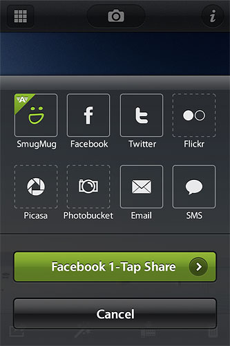 Camera Awesome can share with much more than just SmugMug's own site. Screenshot provided by SmugMug Inc. Click for a bigger picture!