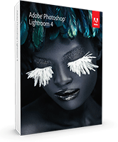 Photoshop Lightroom 4 product packaging. Click to purchase Lightroom 4 on the Mac App Store!