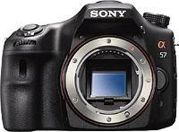 Sony's SLT-A57 Translucent Mirror camera. Photo provided by Sony. Click for our Sony A57 preview!