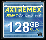 Axtremex's 128GB 800x UDMA7 CompactFlash card. Click here to visit the Axtremex website!